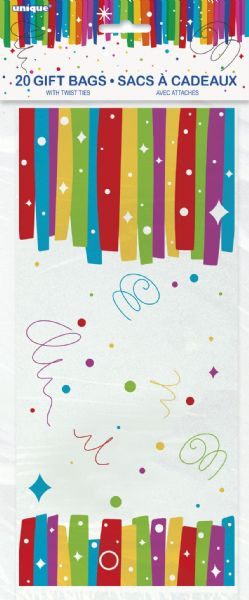 Rainbow Ribbons Birthday Cellophane Bags (20)